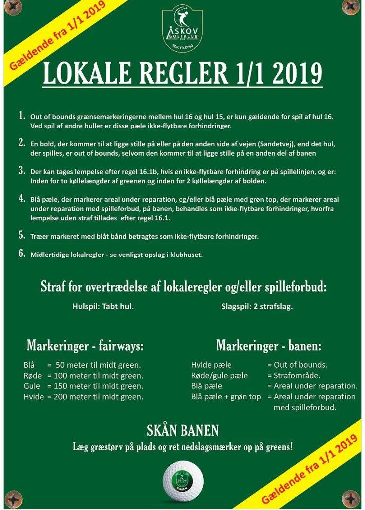 Lokale regler for Åskov Golfklub