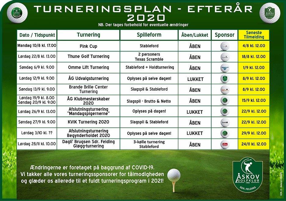Turneringsplan efterår 2020